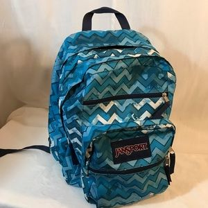 Jansport Big Student Backpack Teal & White Chevron